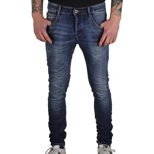 "Y.TWO - Herren Slim Fit Jeans C307 ""Medium Wash Light Scratches"" blue (blau)"