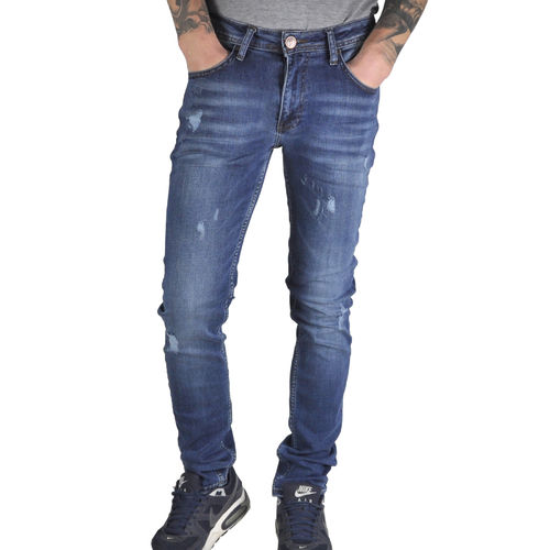 "GAZNAWI - Herren Slim Fit Jeans 68063 ""Velka"" used blue/white (blau)"