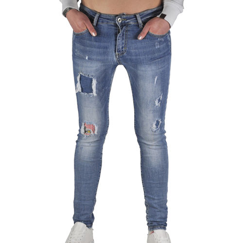 SMAGLI - Damen Slim Fit Stretch Jeans CY-213 destroyed blue (blau)
