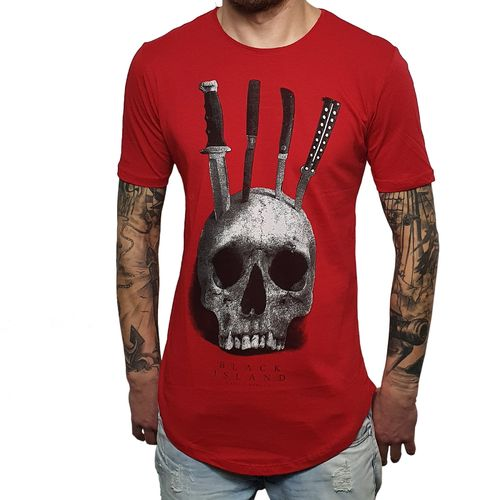 "BLACK ISLAND - Herren T-Shirt 1910 ""Skull & Knives"" red (rot)"