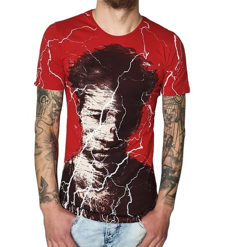 "EKSI - Herren T-Shirt 2331 ""Disturbed"" red (rot)"