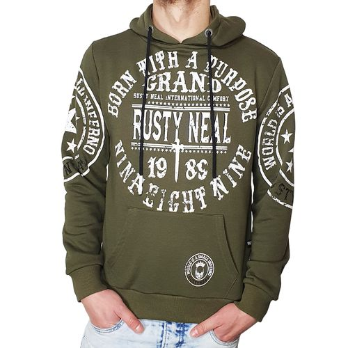 "RUSTY NEAL - Herren Hoodie R-19078 ""Born With A Purpose"" khaki (braungrün)"
