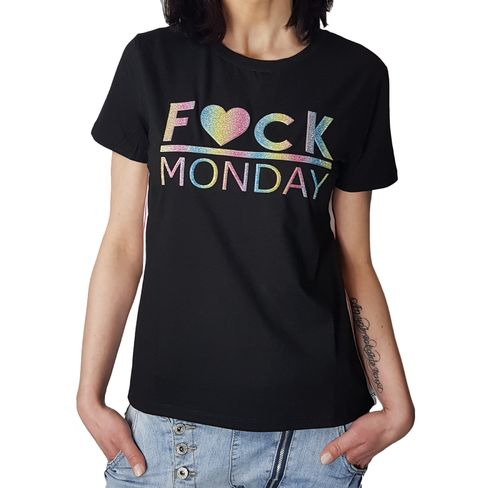 "MISS KISS - Damen T-Shirt (Girlie) ""Fuck Monday"" black (schwarz)"