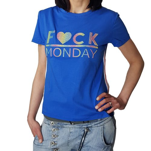 "MISS KISS - Damen T-Shirt (Girlie) ""Fuck Monday"" blue (blau)"