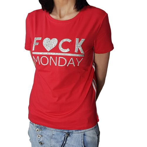"MISS KISS - Damen T-Shirt (Girlie) ""Fuck Monday"" red (rot)"