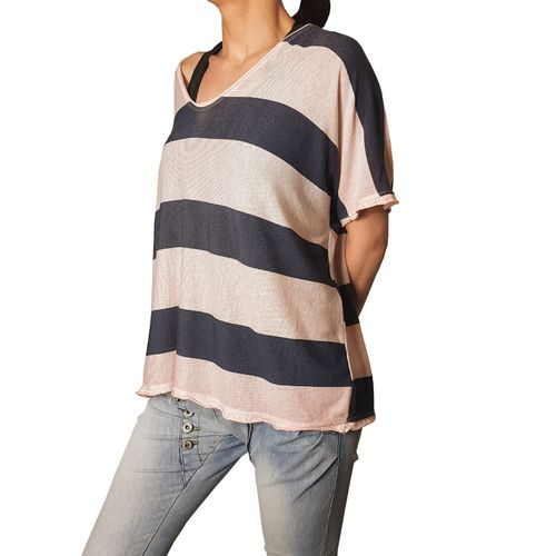 "MUKI - Damen Shirt (Wideshirt) AH 73032 ""Stripes"" altrosa, One Size"
