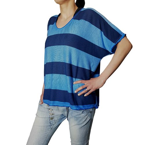 "MUKI - Damen Shirt (Wideshirt) AH 73032 ""Stripes"" blau, One Size"