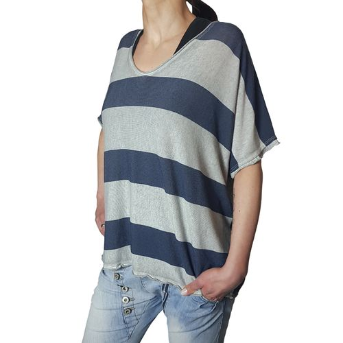 "MUKI - Damen Shirt (Wideshirt) AH 73032 ""Stripes"" grau, One Size"