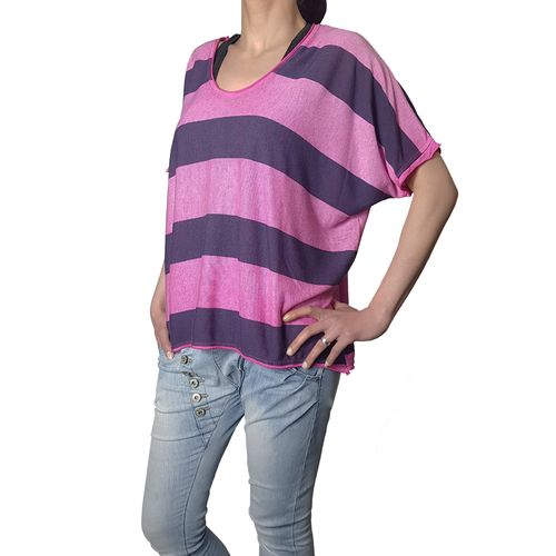 "MUKI - Damen Shirt (Wideshirt) AH 73032 ""Stripes"" pink (rosa), One Size"