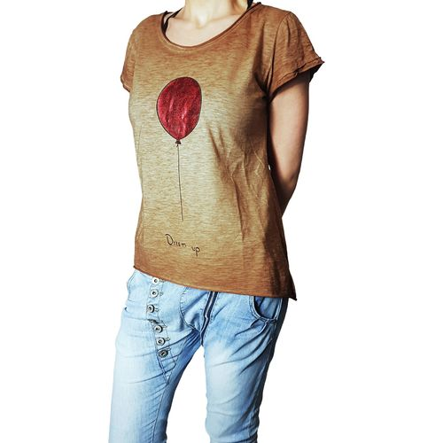 "YOUR & SELF - Damen Shirt ""Dream Up - Balloon"" brown (braun), One Size"