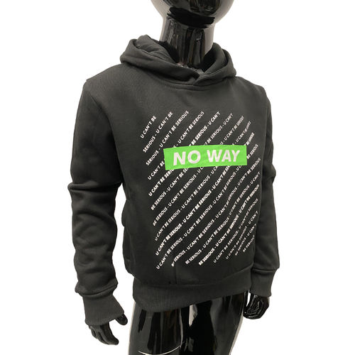 "SQUARED & CUBED - Kinder Hoodie P-93 ""No Way"" black/green (schwarz/grün)"