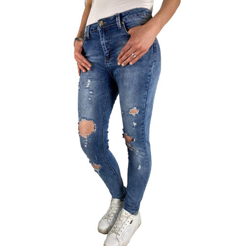ROSE PLAYER - Damen Skinny High Waist Destroyed Jeans R305 blau