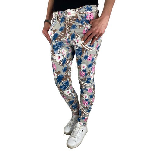 "JEWELLY - Damen Baggy Style Jeans JW9237 ""Flowers"" multicolored (grau/bunt)"