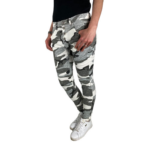 PLACE DU JOUR - Damen Baggy Style Jeans 90089-F341 camouflage (tarn)
