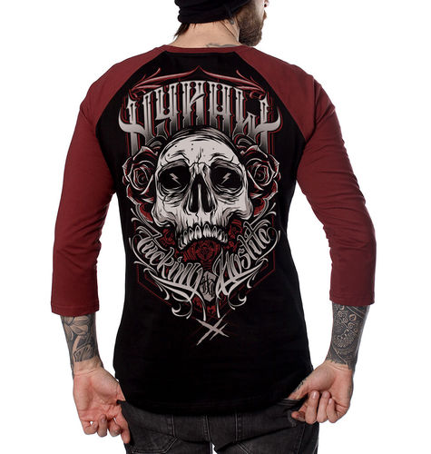 "HYRAW - Herren 3/4 Longsleeve Raglan Shirt ""Fucking Hostile"" black/red"