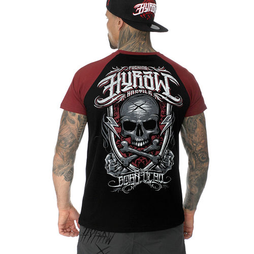 "HYRAW - Herren Raglan T-Shirt ""Born Dead"" black/red (schwarz/rot)"