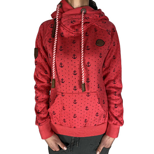 "SQUARED & CUBED - Damen Hoodie MT-130A ""Anker Punkte"" rot"