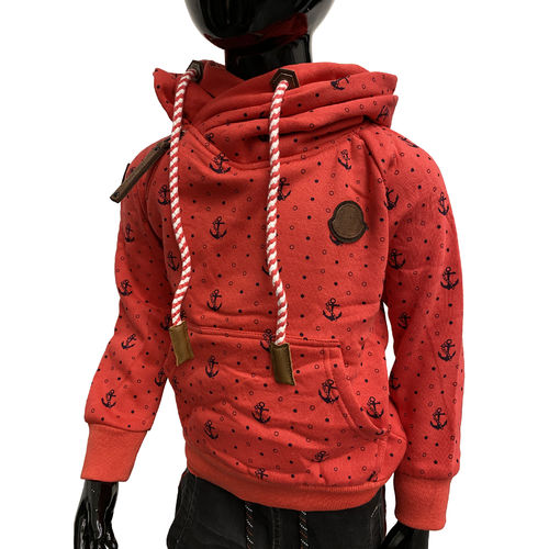 "SQUARED & CUBED - Kinder Hoodie MT-130 ""Anker Punkte"" rot"