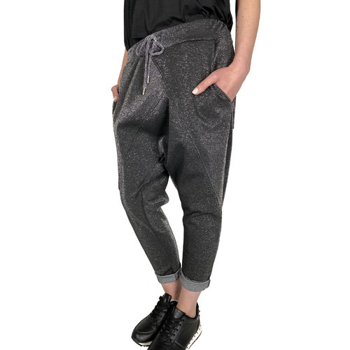 NEW COLLECTION - Damen 7/8 Baggy/Harems Style Hose 3458J schwarz/silber One Size