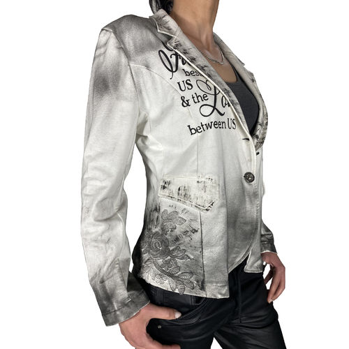 "RAW DENIM - Damen Blazer 10597 ""Cross"" white (weiß/grau)"