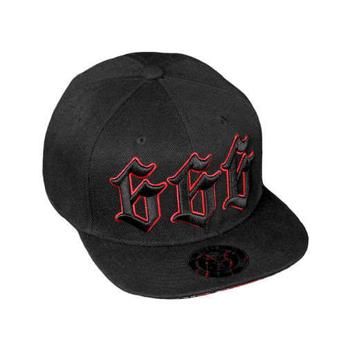 "HYRAW - Snap Back Cap ""Lucifer 666"" black (schwarz) gerader Schild"