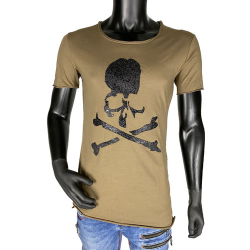 "BLACK ISLAND - Herren T-Shirt 1820 ""Embossed Skull"" brown (braun)"