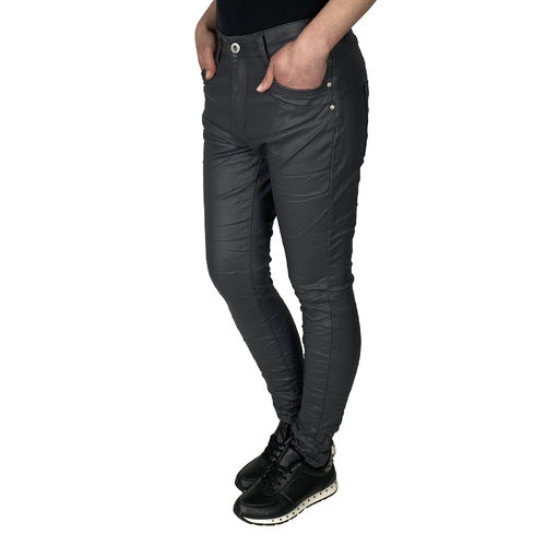 JEWELLY - Damen Kunstleder Jeans JW1556-5 grey (dunkelgrau)