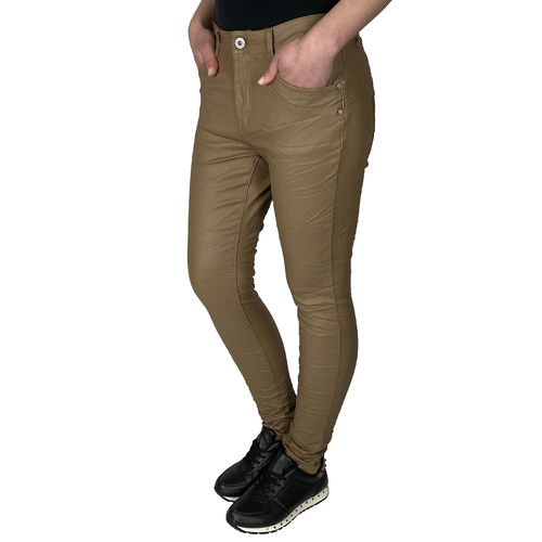 JEWELLY - Damen Kunstleder Jeans JW1556-7A brown (braun)