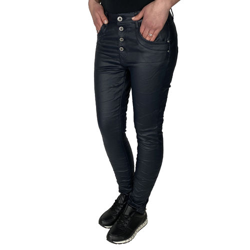 JEWELLY - Damen Kunstleder Jeans JW1557-2 dark navy (dunkelblau)