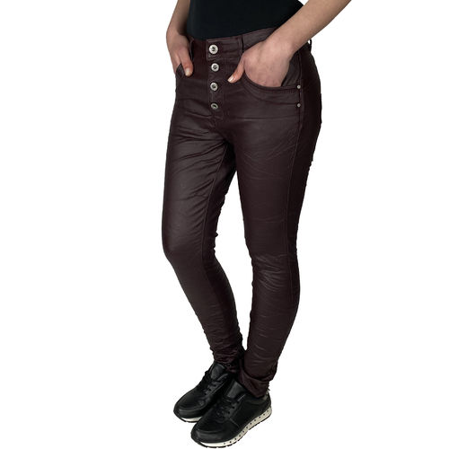 JEWELLY - Damen Kunstleder Jeans JW1557-3 bordeaux (rotbraun)