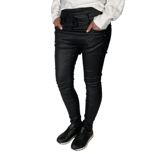 JEWELLY - Damen Kunstleder Baggy Jeans JW1589 black (schwarz)