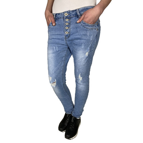 JEWELLY - Damen Destoyed Look Jeans JW9116 blue (blau)