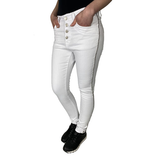 JEWELLY - Damen Skinny Jeans JW9136 white (weiß) langes Bein