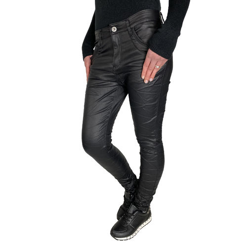 JEWELLY - Damen Kunstleder Jeans JW1556-1 black (schwarz)