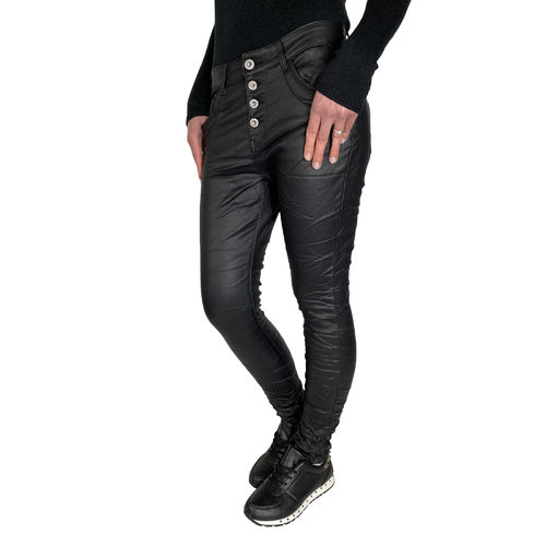 JEWELLY - Damen Kunstleder Jeans JW1557-1 black (schwarz)